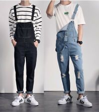 Men Casual Denim Overalls Pants Bib Suspenders Jeans Dungarees Strap Jumpsuits