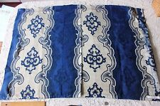 Antique French Indigo Wool/Silk Jacquard Napoleon Iii Home Fabric c1860-1870