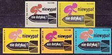 POLAND 1969 Matchbox Label - Cat.Z#956 set, Safety - do not sleep, do not touch!