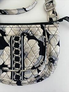 Vera Bradley Lizzie Bag Crossbody Tote Purse Retired Camellia Black White Floral