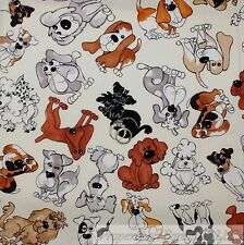BonEful Fabric FQ Cotton Quilt Cream Small Brown Breed Puppy Dog Poodle Scottie