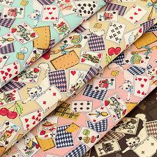 Cotton Fabric per FQ Playing Cards Kitty Cat Rabbit Strawberry Cherry Cake VA95