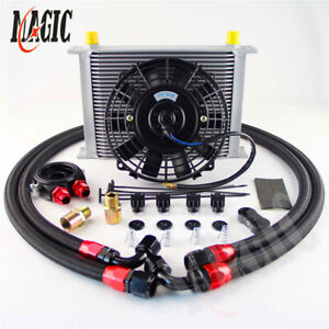 """28 Row 10AN Racing Oil Cooler w/ Filter Adapter Fuel Hose + 7"""" Electric Fan Kit"""