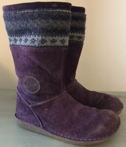CLARKS Sz 1 Youth/Kids Girls Purple Suede Mid Calf Boots With Zipper