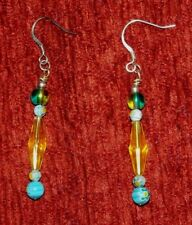Beads : Handcrafted Dangle Drop Earrings Long Yellow & Round Blue Lampwork Glass