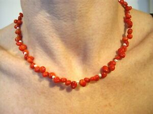 "NATURAL POLISHED RED CORAL BEAD NECKLACE 46cm / 18"" LONG"