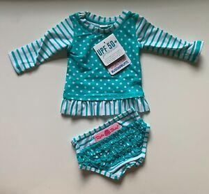 NEW Ruffle Butts Baby Girls Swimsuit Polka Dots Aqua/ White UPF 50+ Size 3-6M