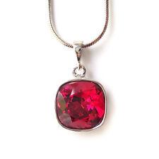 Deep Red Crystal Drop Necklace w/ 12mm Swarovski Cushion Cut Rhinestone Pendant
