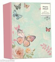 "Photo Album Butterfly & Rose Design Holds 80 4"" x 6"" Photographs Slip In GIQQ"