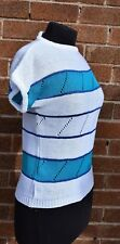 Retro Top Sleeveless Knitwear by CHOICE White Navy Blue Turquoise Preloved