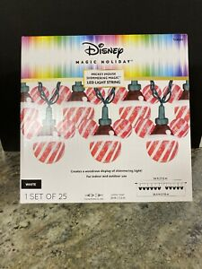 Christmas Disney Shimmering Magic 25 Mickey Mouse String Lights Red Candy Cane