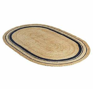 Jute Rugs Oval Natural Braided 100% Jute Rug Reversible Bohemian Handmade Runner