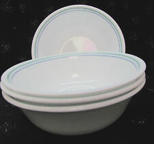 """4 CORELLE CORNING WARE COUNTRY COTTAGE 6 1/4"""" CEREAL BOWLS GREEN PURPLE STRIPES"""
