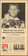 1957 Vintage ad for Carnation Instant Non fat Dry Milk Photo Boy Glass (050217)