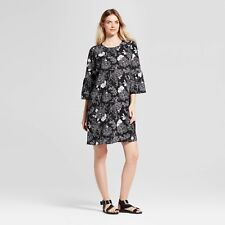 Isabel Maternity Bell Sleeve Floral Dress Black & White