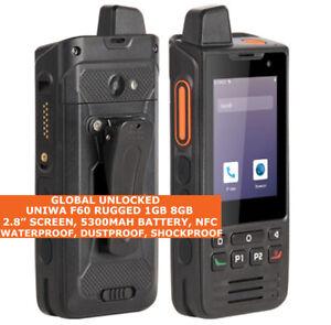 """UNIWA F60 RUGGED Walkie Talkie 8gb Waterproof 2.8"""" Dual Sim Android 9.0 NFC 4g"""