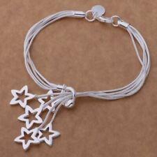 925 Silver 5 Strand Stars Charm Bracelet Bangle Adjustable 20cm + Bag UK