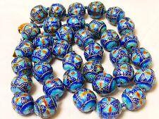 "Chinese Vintage Enamel 17mm Large Bead Necklace, 30"" long"