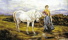 """""""LEADING HER HOME"""" HORSE TAPESTRY TO STITCH 60 X 90 CM RARE DESIGN!"""