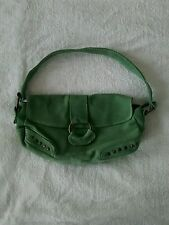 "Primark ""Atmosphere"" Ladies Real Suede Handbag Apple Green with Brass Studs VGC."