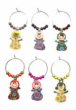 Set of 6 Handmade Party Girls Wine Glass Charms - FREE P&P