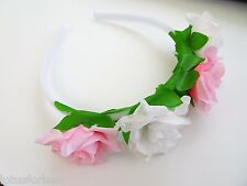 Gorgeous Flower Headband Hairband Alice Band Pink and White Bridesmaid Festival
