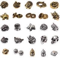 5PCs Gold Buddha Head Lion Owl Fox Head Charm Alloy Beads Fit Animal Bracelet
