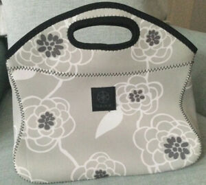 GAIAM Thermal Insulated Neoprene Lunch Tote Bag Grey Floral