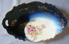VINTAGE ROYAL BAVARIAN HP CHINA BOWL ROSES COBALT BLUE GILT TRIM