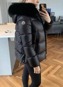 Moncler serifur black fur puffer puffa jacket coat fox fur trim hood size 0 6 8