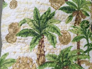 Palm Tree Quilt Set Green Gold Cream Full Queen with Shams Tropical Island NIP