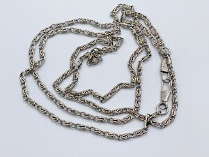 VINTAGE SILVER METAL VERY LONG FLAPPER MUFF CHAIN LADIES NECKLACE