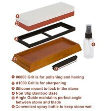 Whetstone Knife Sharpening Stone Set - Premium 2-Sided 1000 6000 Grit - Kitchen