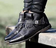 New $255 Bed Stu Cobbler Boho Distressed Leather Dipper Boots Black Rustic 6 N