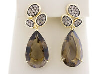 14K Yellow Gold Pear Shape Drop Earrings Natural Smokey Brown Topaz and Diamonds
