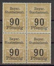 Bavaria Bayer Germany WWII Railroad Train 90pf Revenue local block 4 MNH