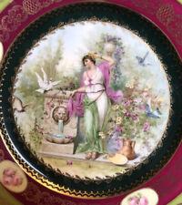 Pair of Antique 'Vienna' Cabinet Plates - Classical Maidens & Cherubs
