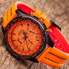 DETOMASO Firenze Herrenuhr Chronograph Edelstahl Orange Lederarmband Neu