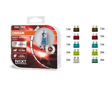 OSRAM H4 12 V Night Breaker Laser +150% mehr Helligkeit +  KFZ Flach Sicherungen