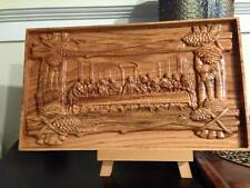 "Wood 3D Carved ""Lords Supper"" - Red Oak Stained Pecan"