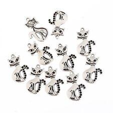10pcs Cat siamese witches Tibetan Silver beads charms pendants Fit Bracelet
