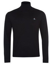 VIVIENNE WESTWOOD ORB ROLL NECK JUMPER BLACK LADIES 2XL UK 18 RRP £245 #TE76