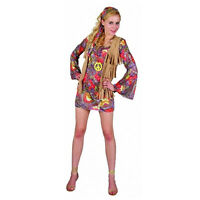 Girls Woodstock Flower Costume 60s 70s Retro Hippy Hippie Fancy Dress Outfit UK