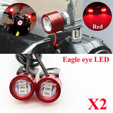 2x DC 12V Motorcycle Rearview Mirror Eagle Eye 3 LED Flash Strobe Lights DRL Red