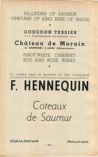 ADVERT Vouvray Vineyard Wine F Hennequin Doue la Fontaine Chateau de Morain