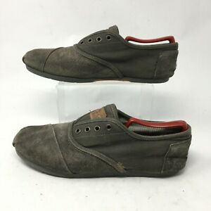 Toms Casual Oxford Shoes Mens 10 Comfort Low Top Lace Up  Fabric Canvas Grey