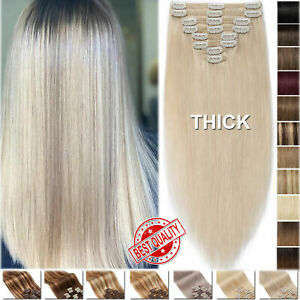 """Thick Double Weft 8PCS 18Clips In Real Remy Human Hair Extensions Full Head 18"""""""