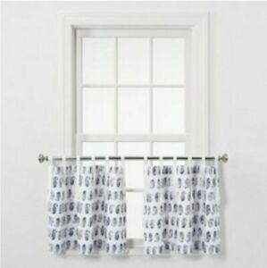 "Threshold Light-Filtering Cafe Blue Paisley Curtain Set 2 Panels 42""W×24""L, L20"
