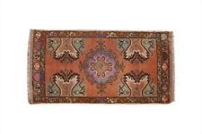 2x3 Handmade Wool Vintage Oriental Geometric Traditional Medallion Small Rug