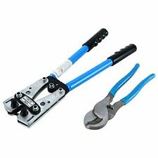 Cable Lug Crimping Tool for Heavy Duty Wire Lugs  + Cable Wire Cutter